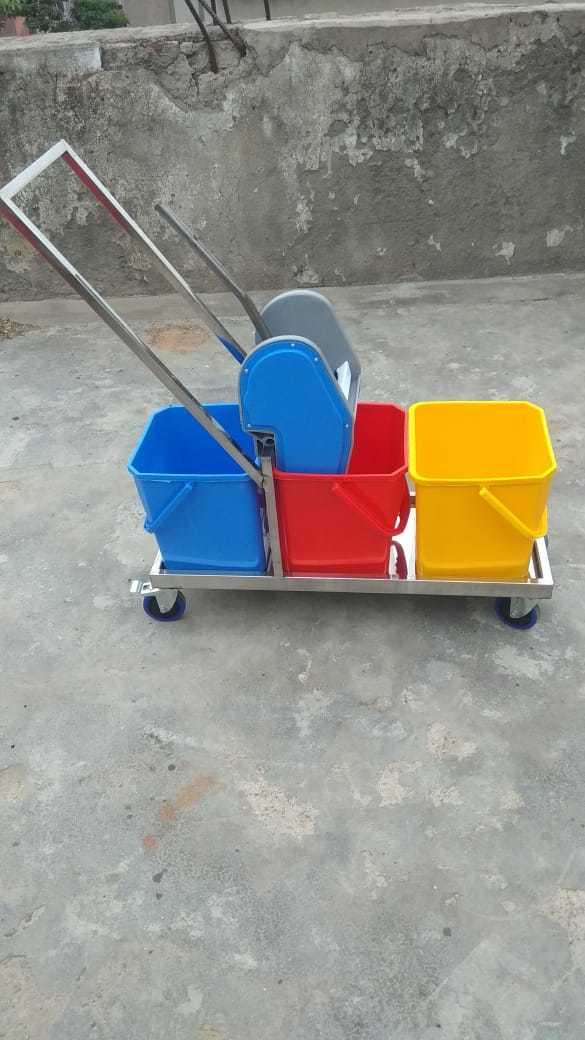 3 Bucket Mop Wringer Trolley Stainless Steel 54L