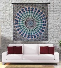 Peacock Mandala Indian Cotton Religious Traditional Tapestry