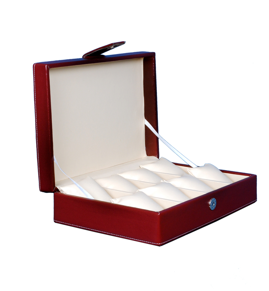 Fico Maroon Watch Box For 8 Watches