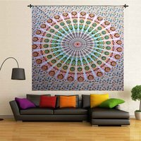 Cotton Hand Printed Mandala Religious Traditional Wall Decor