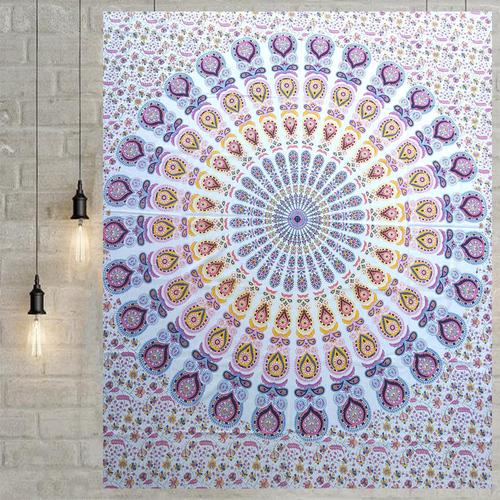 100% Cotton Hand Printed Peacock Traditional Mandala Tapestry