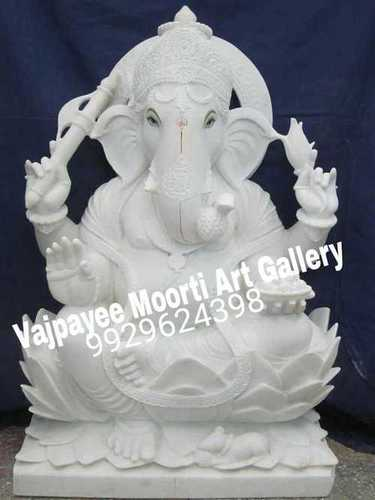 Pure White Makrana Marble Ganesh Statue