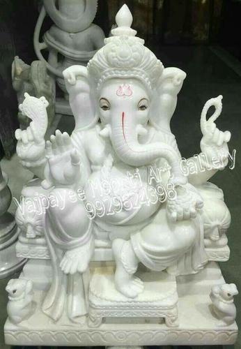 Pure White Makrana Marble Ganesh Moorti