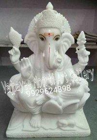 Makrana Whilte Marble Ganesh Ji Moorti