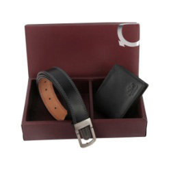 Black Leather Wallet Combo Set