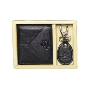 Mens Black Leather Wallet Combo Set