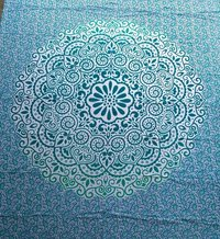 Aqua Color Floral Mandala Hippie Wall hanging Tapestry