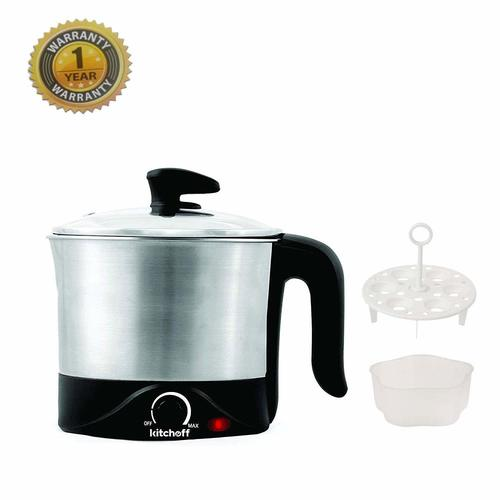 Kitchoff 1.2-Litre Automatic Electric Multi-Purpose Kettle (Silver and Black)