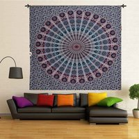 Peacock Mandala Indian 100% Cotton Wall Hanging Tapestry