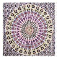Home Textile Cotton Multi Color Peacock Mandala Hippie Tapestry