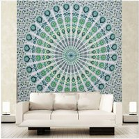 Bedspread Indian 100% Cotton Green Color Peacock Mandala Tapestry