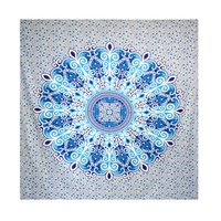 Blue Color Charvi Mandala Printed Bed Sheet Bedspread Tapestry