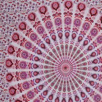 Indian Cotton Pink Color Peacock Mandala Bedspread Tapestry