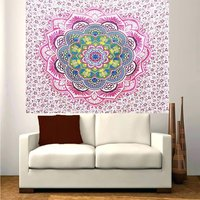 Pink Color Lotus Mandala Indian Cotton Hippie Wall Tapestry