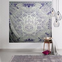 Royal Blue Color Hamsa Mandala Indian Cotton Hippie Wall Tapestry