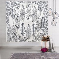Feather Black & White Indian 100% Cotton Mandala Bed Sheet Bedspread Tapestry