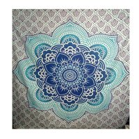 Floral Lotus Mandala Blue Color Indian 100% Cotton Tapestry