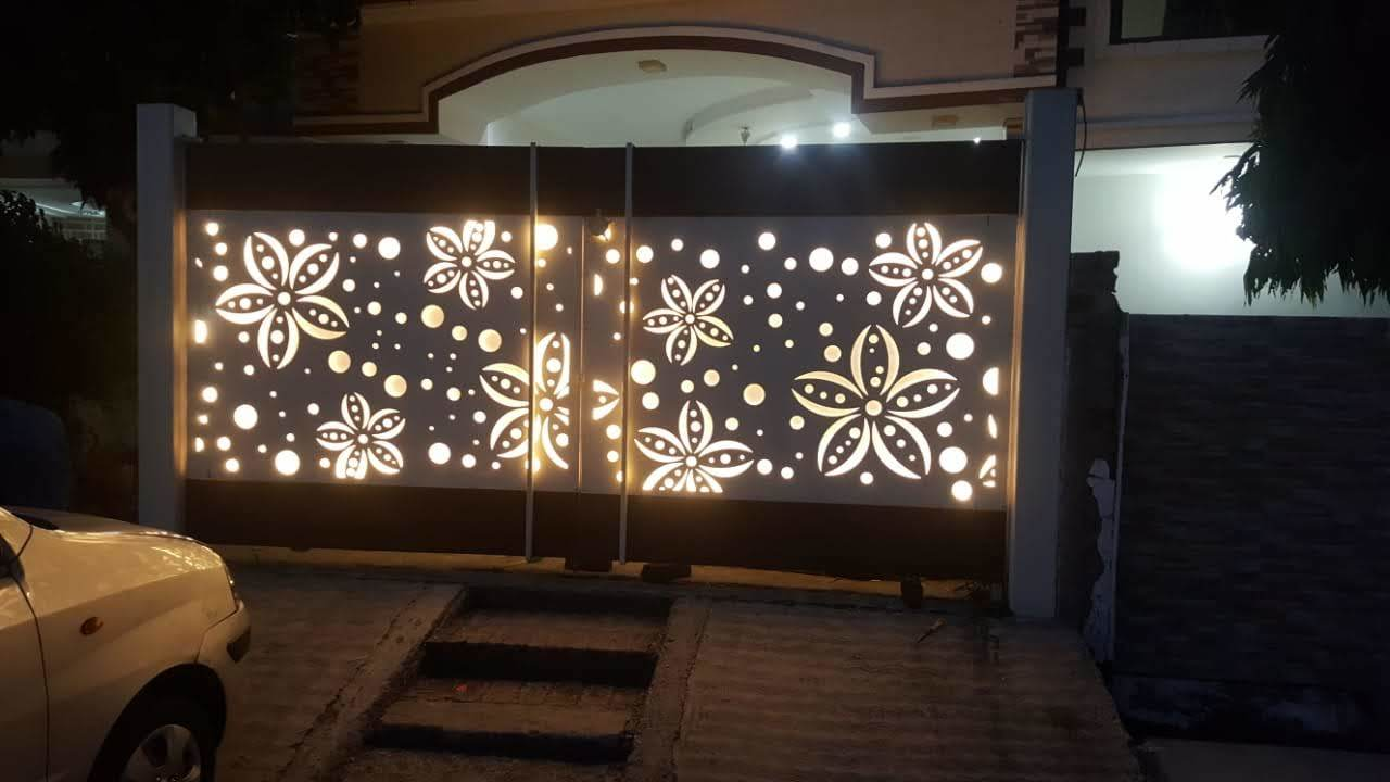 cnc metal gate with led light