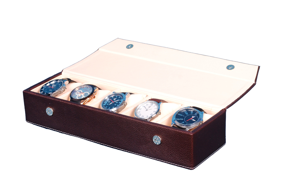 Fico Brown Watch Case for 5 Watches