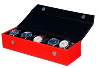 Fico Black-Red Watch Case for 5 Watches