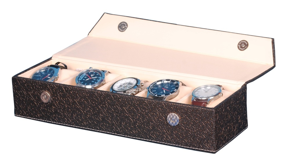 Fico Golden-Brown Watch Case for 5 Watches