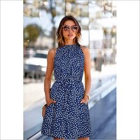 Ladies Blue Printed Crepe Stitched Party Wear Kurtis