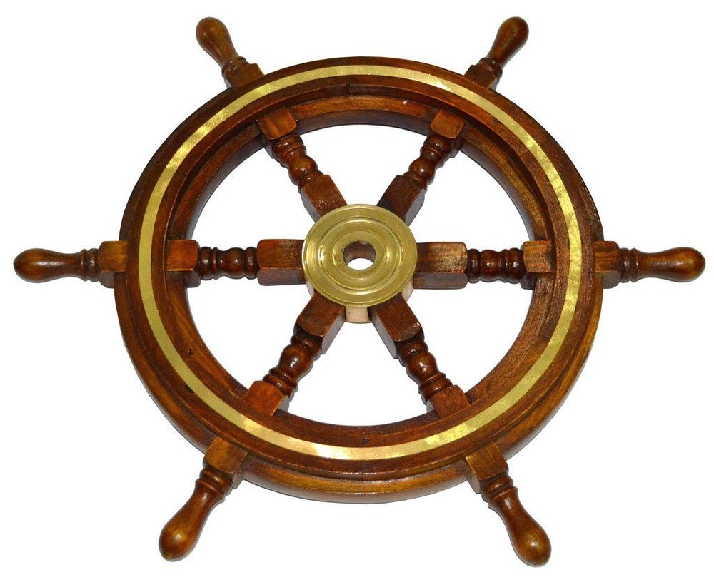 "Brass Wooden Ship Wheel Pirate Boat Nautical Decorative Antique 18/"" Ship Wheel"