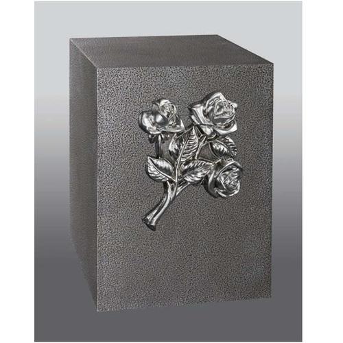 Cluster Rose Steel Cube Urn