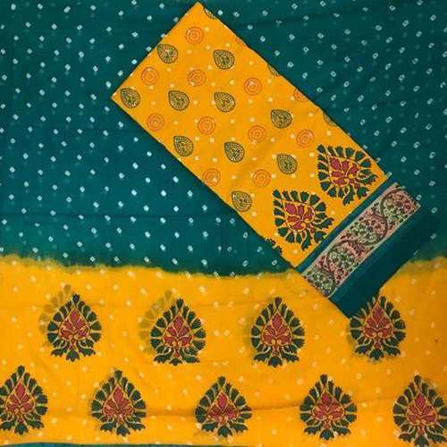 Hand Multi Block Printed with Bandhani Work