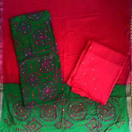 Khatali Work Cotton Suit With Printed Salwar & Dupatta Material