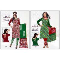 Multi-Color Batik Suit With Salwar & Dupatta