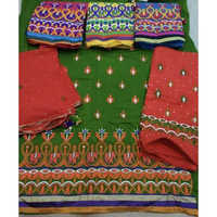 Unstitched Heavy Embroidery Bandhej Salwar Material And Dupatta