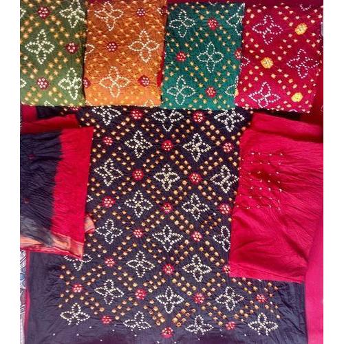 Cotton Bandhej Dress Material