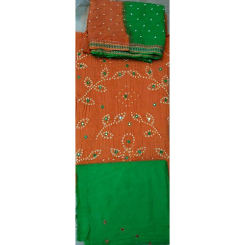 Mirror Work With Bandhej Salwar And Dupatta Material