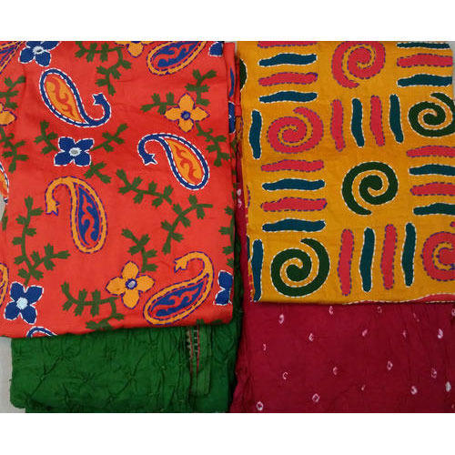 Pigment Work With Bandhej Salwar and Dupatta