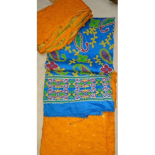Unstitched Pigment Work With Bandhej Salwar And Dupatta Material