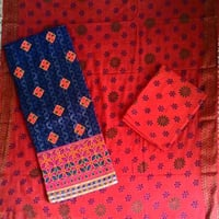 Unstitched Jacquard Work Suit With Printed Salwar & Dupatta Material