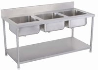 THREE WASHING SINK WITH UNDER SHELF