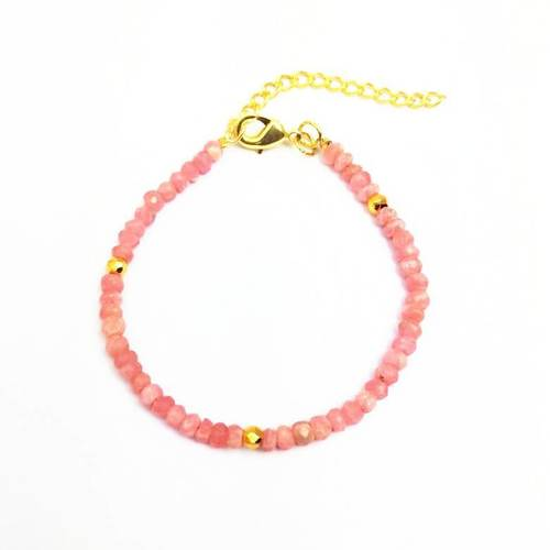 Pink Opal and Gold Pyrite Faceted Rondelle Bead Bracelet