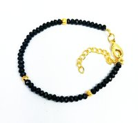 Black Onyx and Gold Pyrite Faceted Rondelle Bead Bracelet