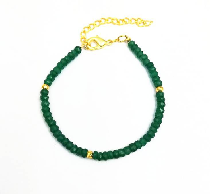 Green Onyx and Gold Pyrite Faceted Rondelle Bead Bracelet