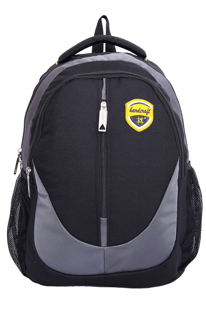 Hard Craft Unisex's Backpack 15inch Laptop Backpack M-Zip Lightweight (Grey-Black)