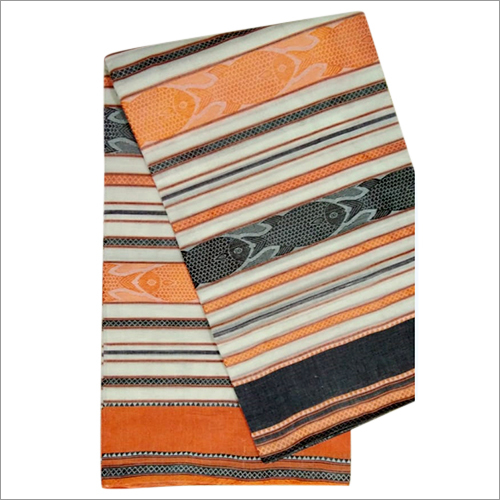 Printed Ladies Cotton Dhaniakhali Fish Motif Saree