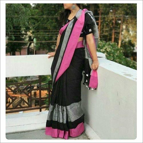Ladies Pink black Handloom Linen Sarees