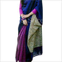 Ladies Printed Handloom Linen Sarees