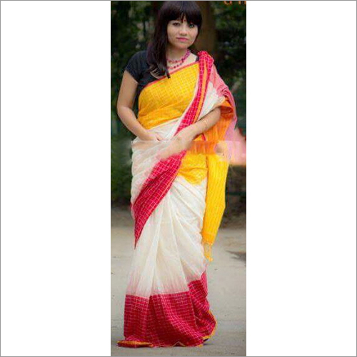 Ladies Handmade Khadi Ikkat Saree