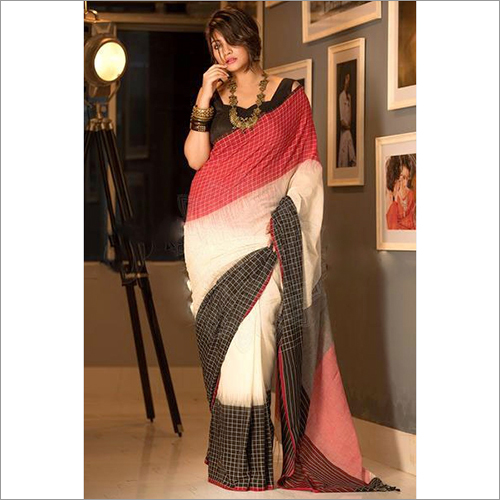 Ladies Double Shed Khadi Ikkat Saree