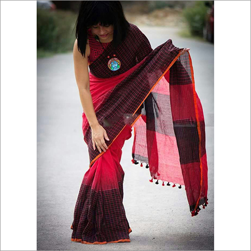 Ladies Printed Khadi Ikkat Saree