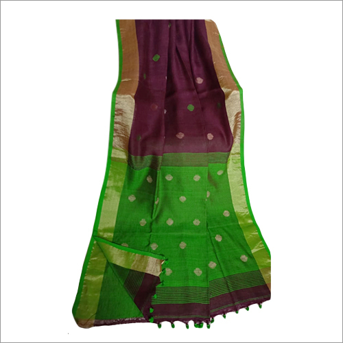 Ladies Linen Ball Buti Saree