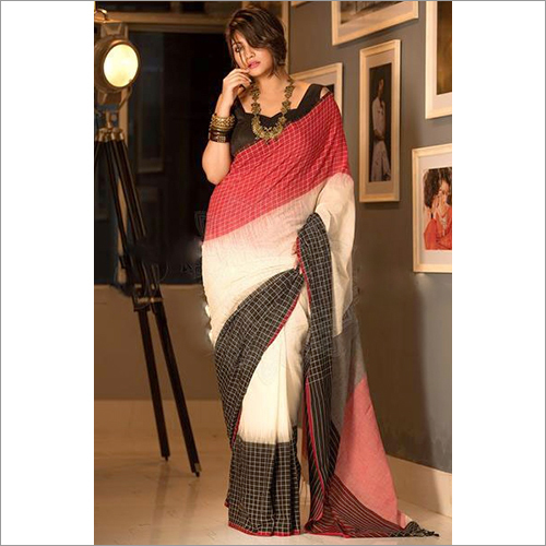 Ladies Printed Linen Ball Buti Saree